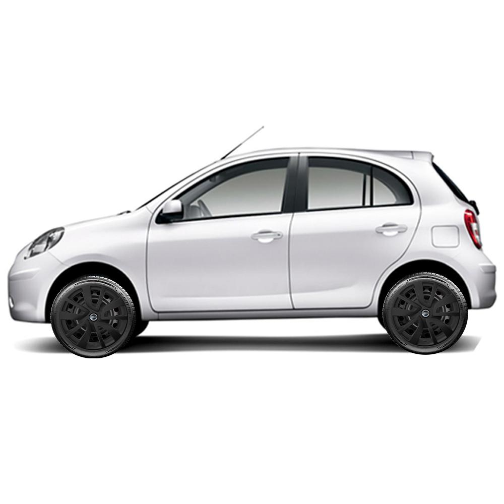 Calota Preto Fosco Jogo 4Pçs Nissan March Versa 2020 Aro 15 G869Pfj