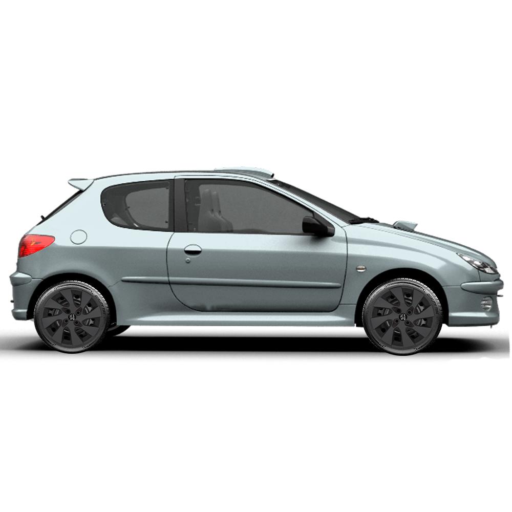 Calota Preto Fosco Jogo 4Pçs Peugeot 206 207 208 307 Aro 15 G195Pfj
