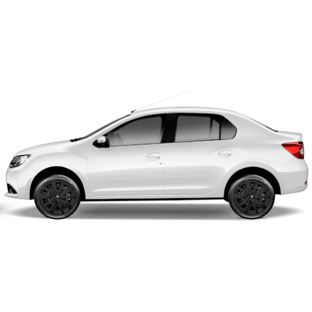 Calota Preto Fosco Jogo 4Pçs Renault Logan Sandero 2020 Aro 15 G869Pfj