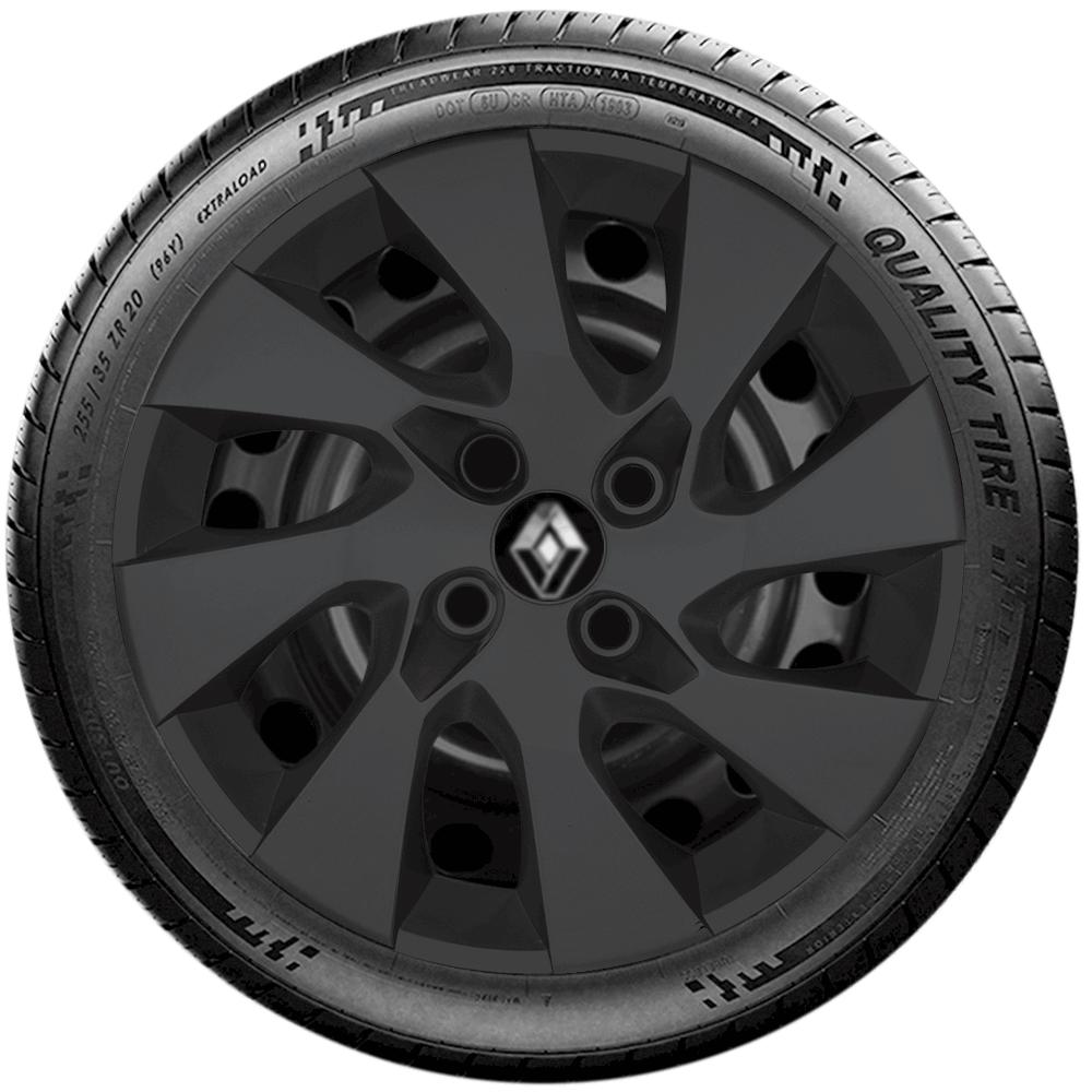 Calota Preto Fosco Jogo 4Pçs Renault Novo Sandero Logan 2020 Aro 15 G195Pfj