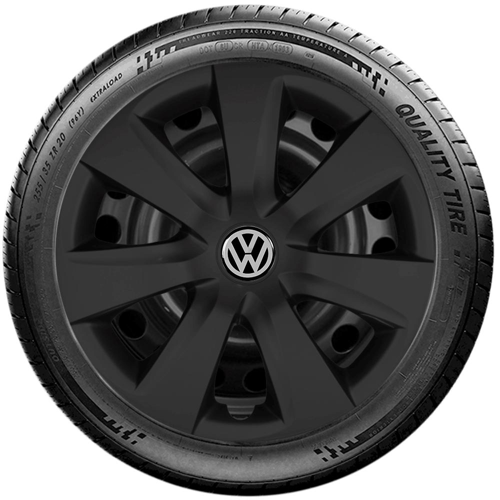 Calota Preto Fosco Jogo 4Pçs Volkswagen Gol Voyage Gol Aro 14 G461Pfj