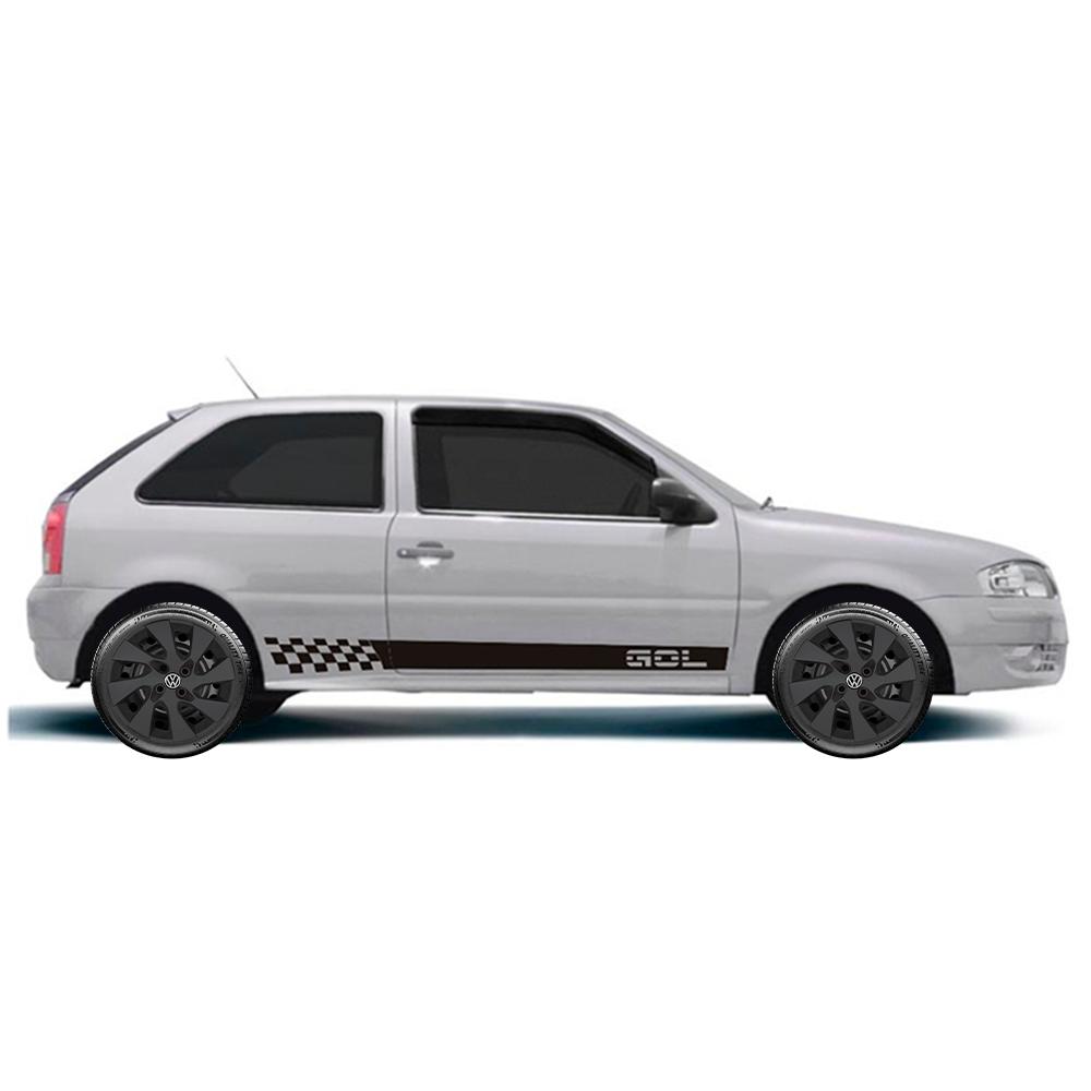 Calota Preto Fosco Jogo 4Pçs Volkswagen Gol Voyage Saveiro G1 G2 G3 Aro 14 G133Pfj