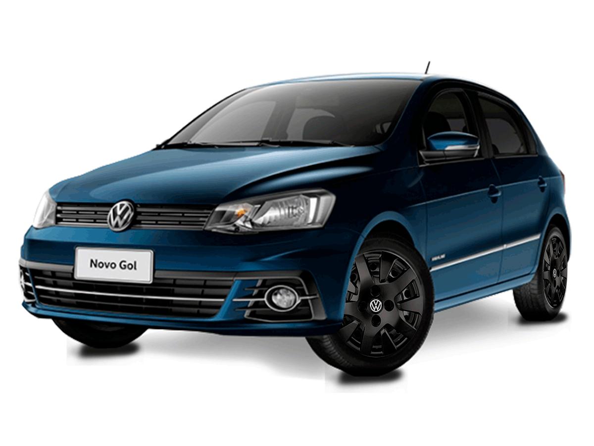 Calota Preto Fosco Jogo 4Pçs Volkswagen Gol Voyage G6 G7 Aro 14 G343Pfj