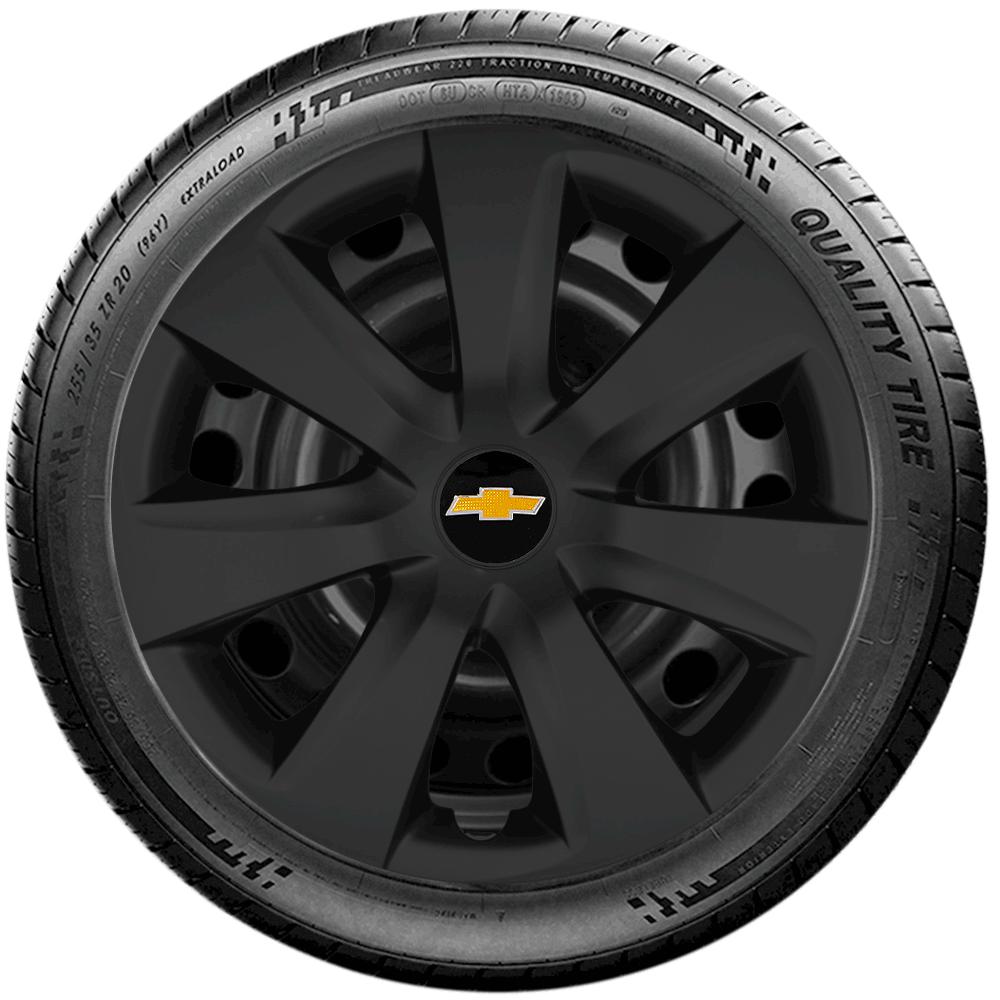 Calota Preto Fosco Jogo 4Pçs Chevrolet Corsa Classic Prisma Aro 14 G461Pfj