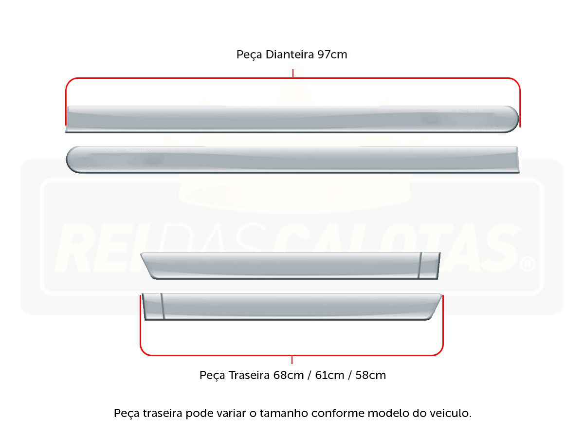 FRISO FACÃO GOL 4P VERMELHO TORNADO C/4 PÇS - VW7077VMT