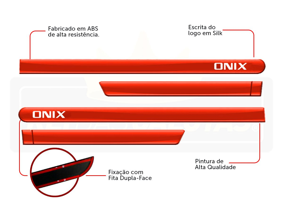 Friso Lateral Personalizado Onix Hatch Nova Geração Laranja Tiger