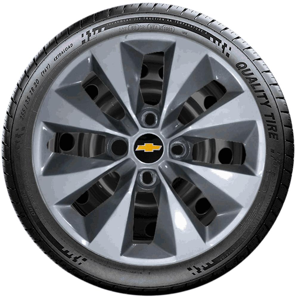 Calota Prata Com Grafite Jogo 4Pçs Chevrolet Onix Corsa Celta G112Ptgj