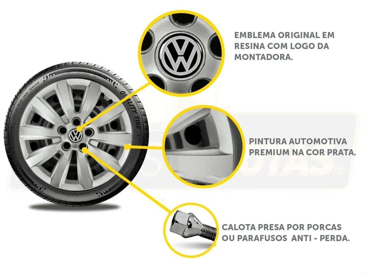 Calota Jogo 4Pçs Volkswagen Golf Polo Fox Space Fox Aro 15 G119J