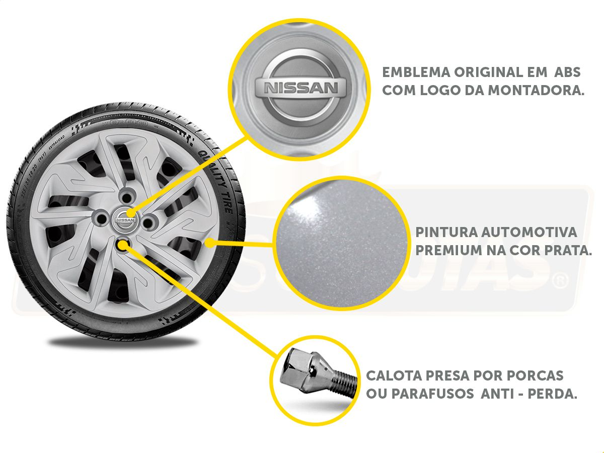 Jogo Calota Aro 14 Nissan March Versa 2013 2020 G292JE