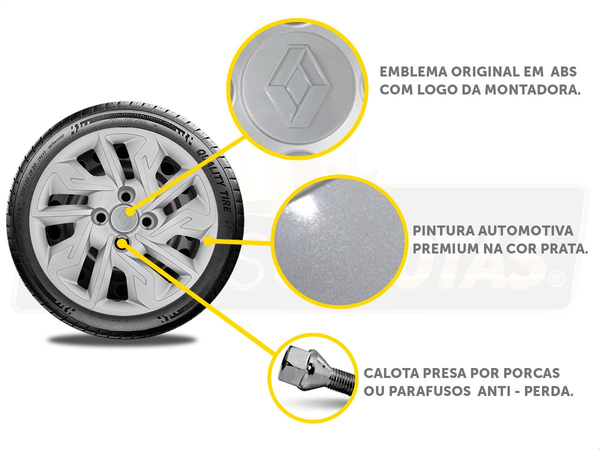 Jogo Calota Aro 14 Renault Sandero Logan 2018 2019 G292JE