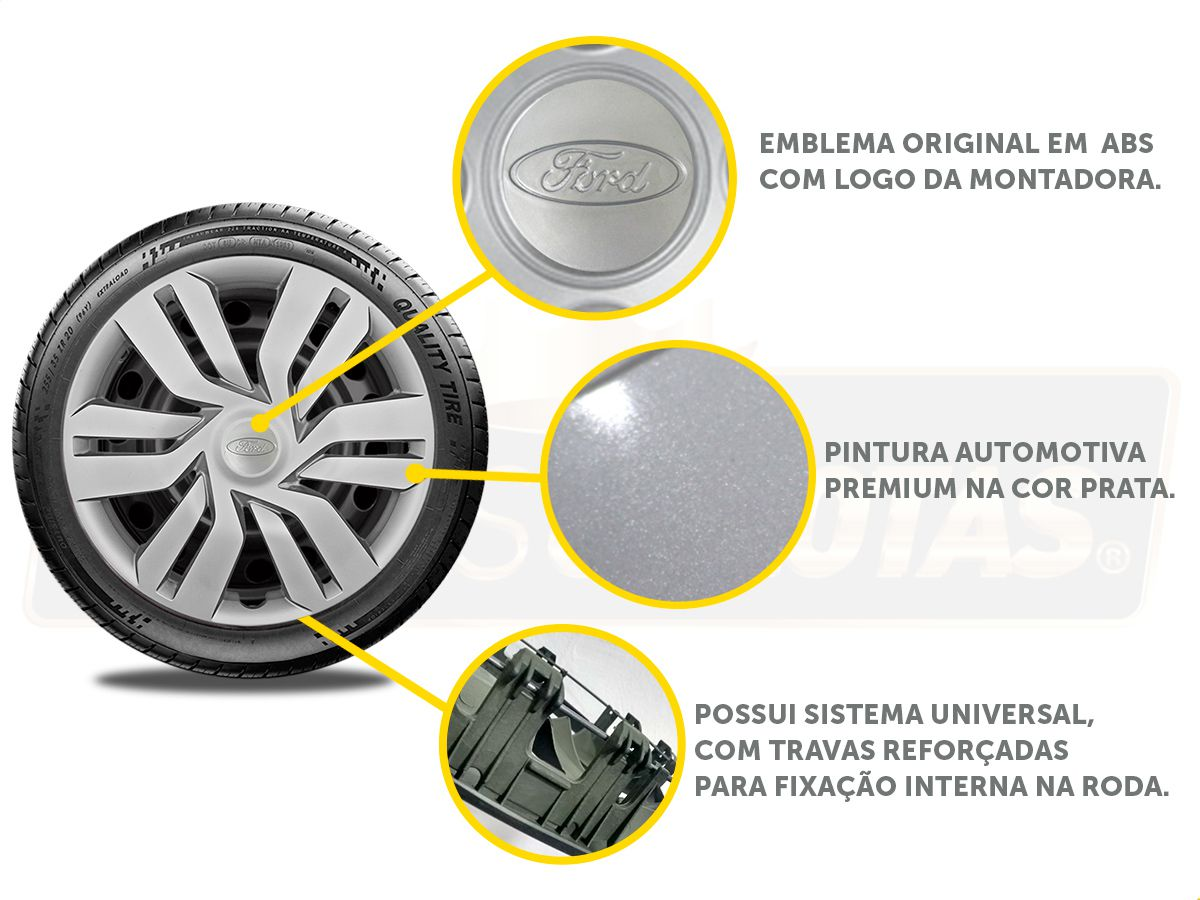 Jogo Calota Aro 15 Ford Ka Hatch Sedan 2016 2019 G120JE