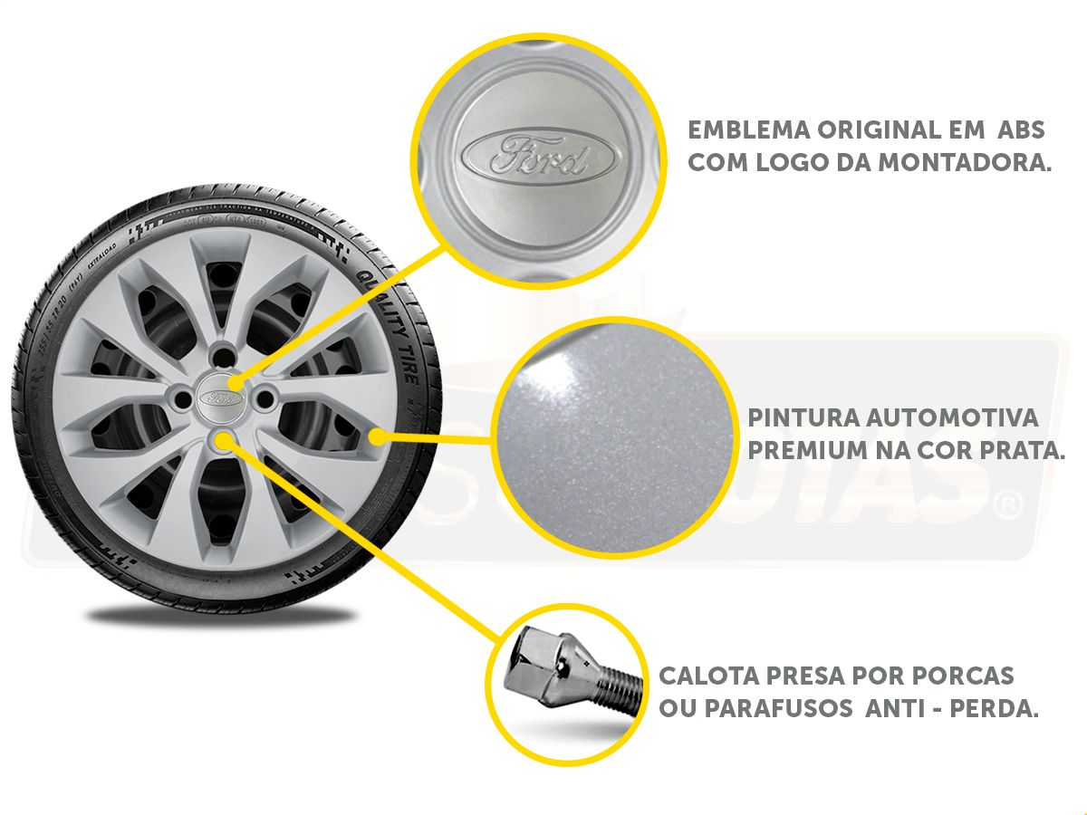 Jogo Calota Aro 15 Ford Ka Hatch Sedan 2016 2019 G375JE