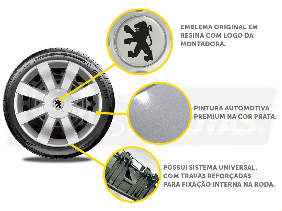 Jogo Calota Aro 15 Peugeot 208 307 306 206 207 G875JE