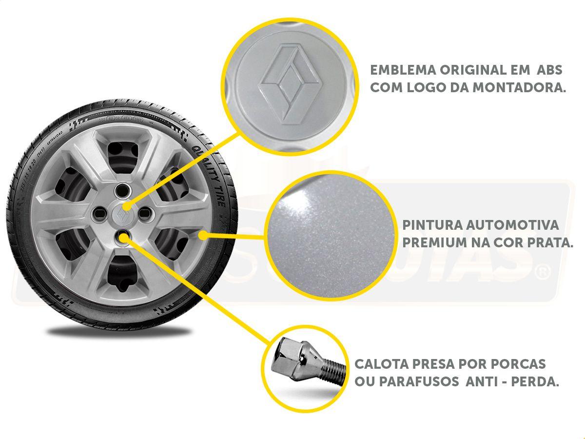 Jogo Calota Aro 15 Renault Sandero Logan 2018 2019 G084JE