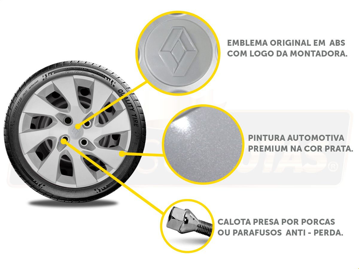 Jogo Calota Aro 15 Renault Sandero Logan 2018 2019 G195JE