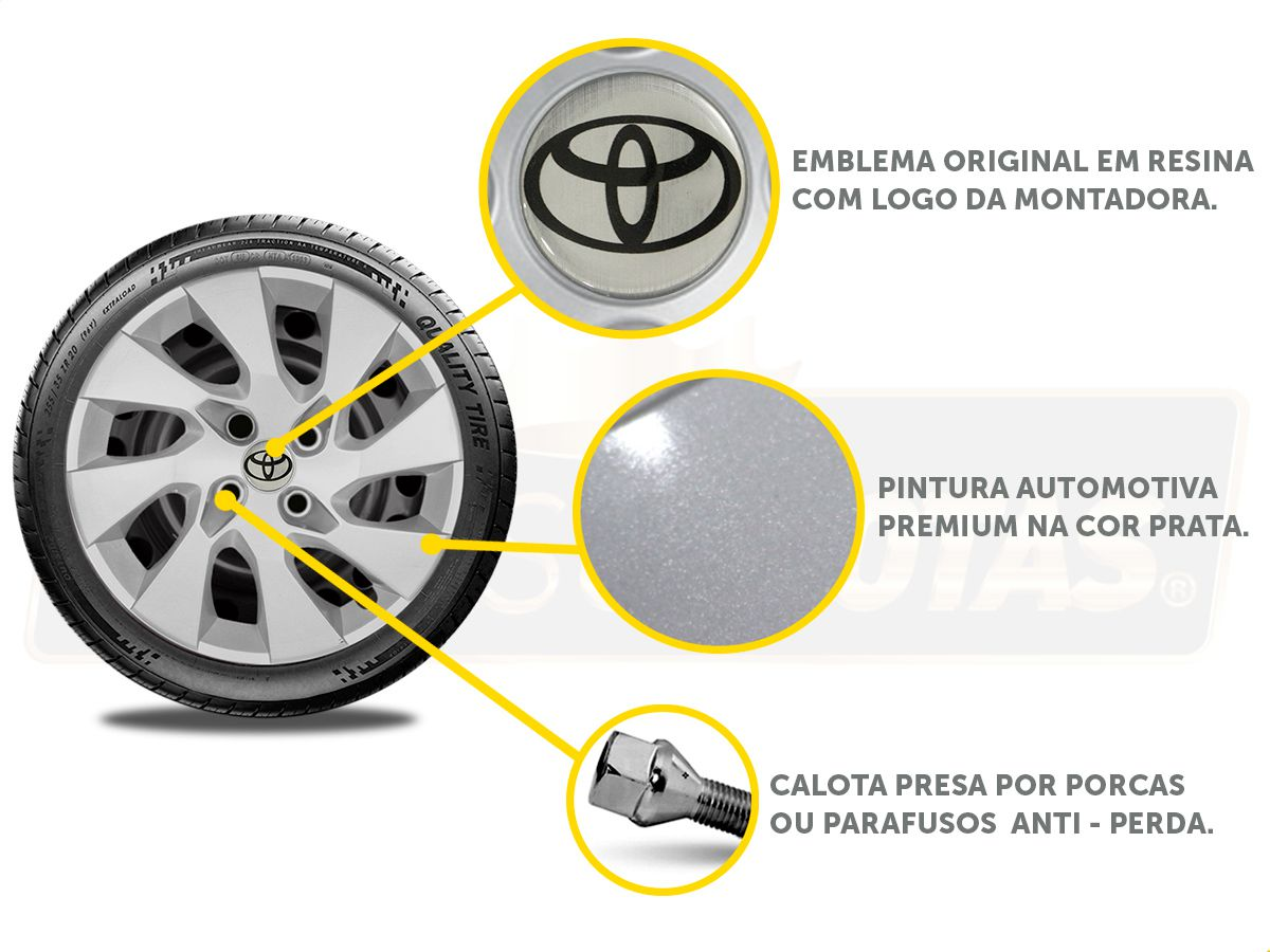 Jogo Calota Aro 15 Toyota Etios Sedan Hatch G195JE