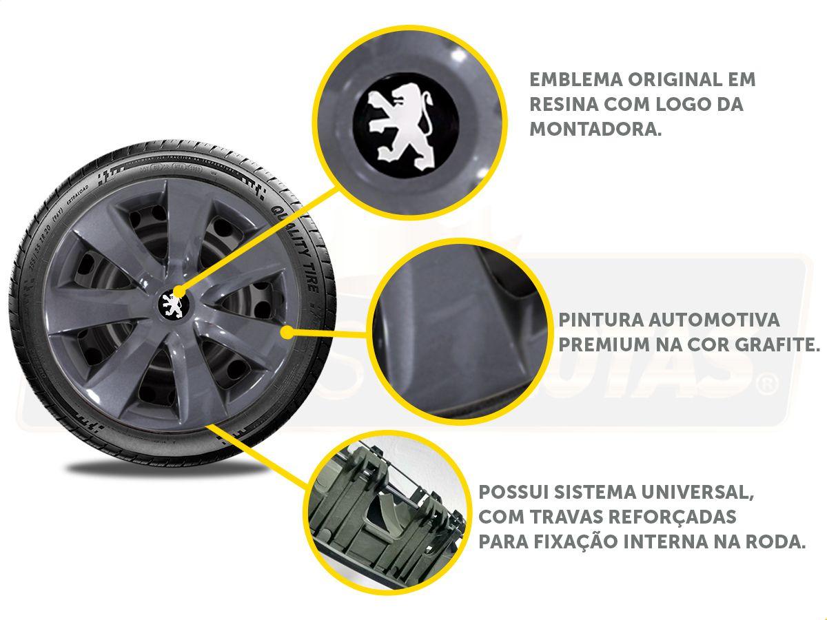 Jogo Calota Grafite Aro 14 Peugeot 208 306 206 207 G461GFJE