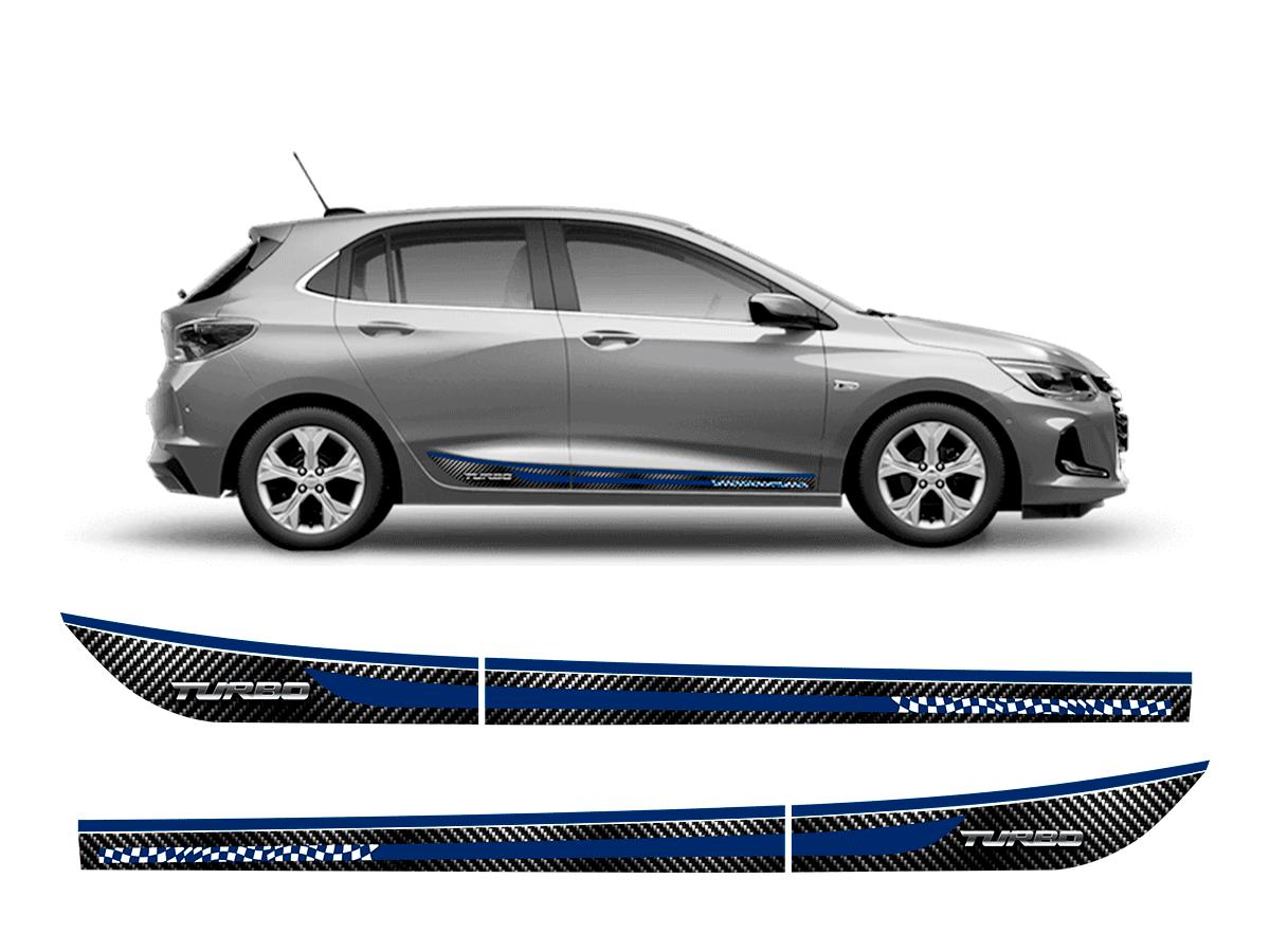 Kit Chevrolet Onix Hatch Nova Geração Friso Adesivo R-Design Azul + Soleira Ltz + Spoiler Front Lip