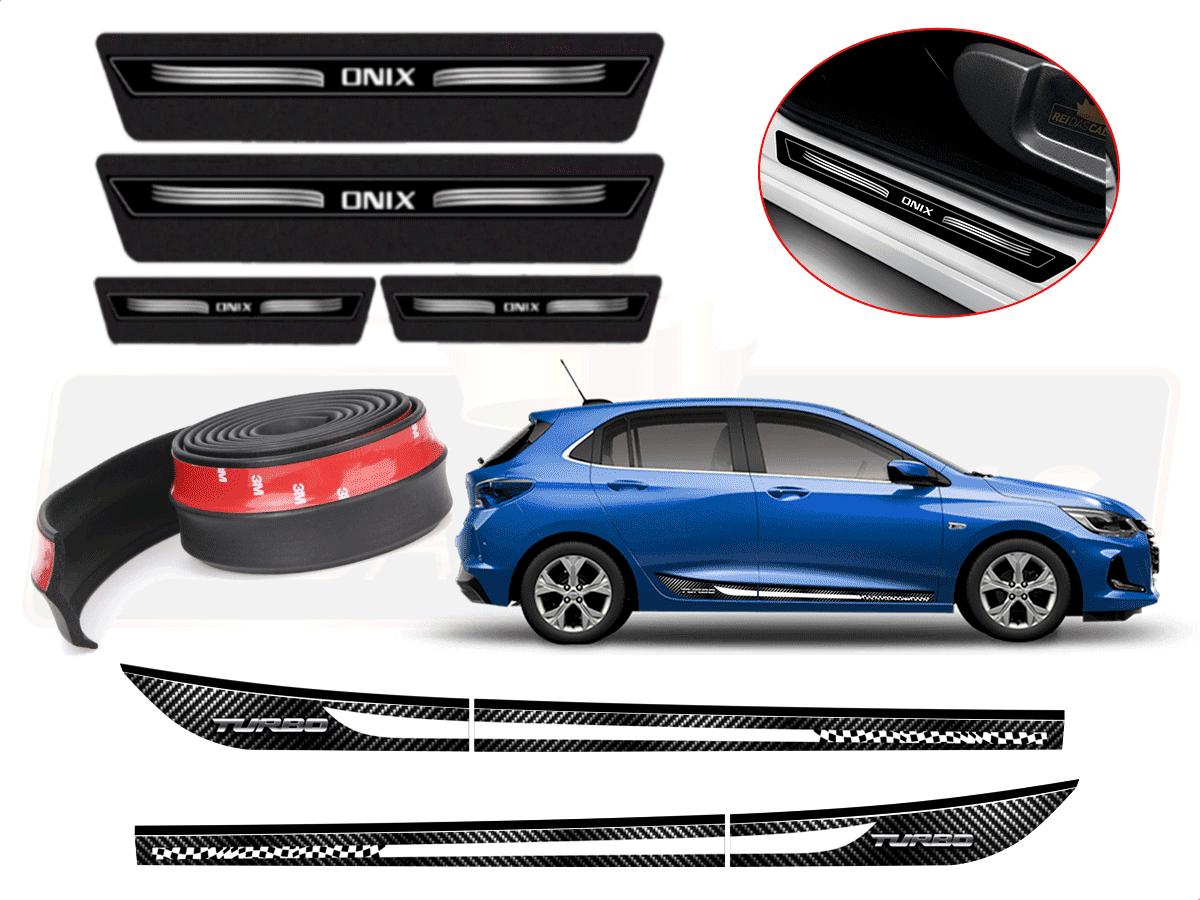Kit Chevrolet Onix Hatch Nova Geração Friso Adesivo R-Design Cromado + Soleira Ltz + Spoiler Front Lip