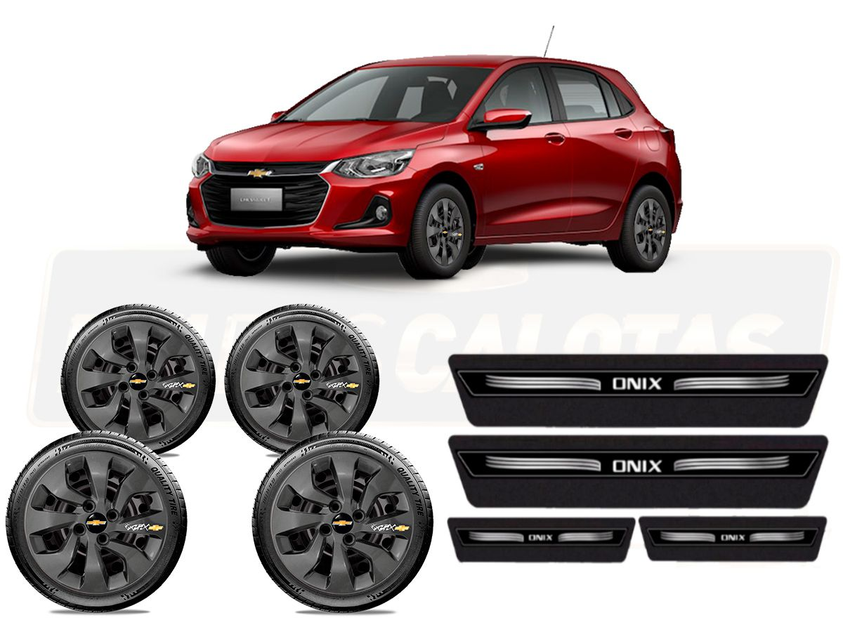 Kit Novo Onix Hatch 2020 C/4 Calota Grafite Tribal E Soleira