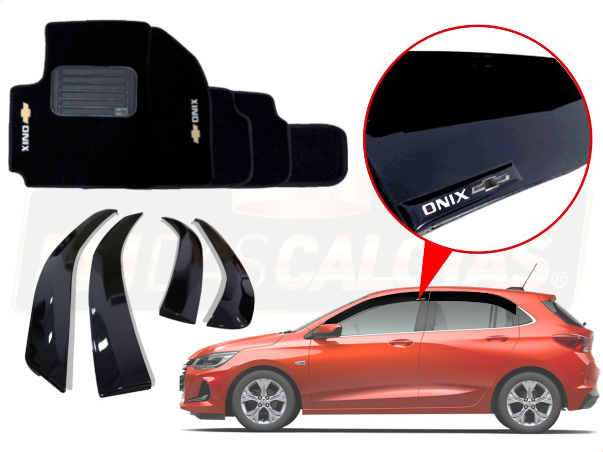Kit Novo Onix Hatch 2020 Calha De Chuva E Tapete Carpete