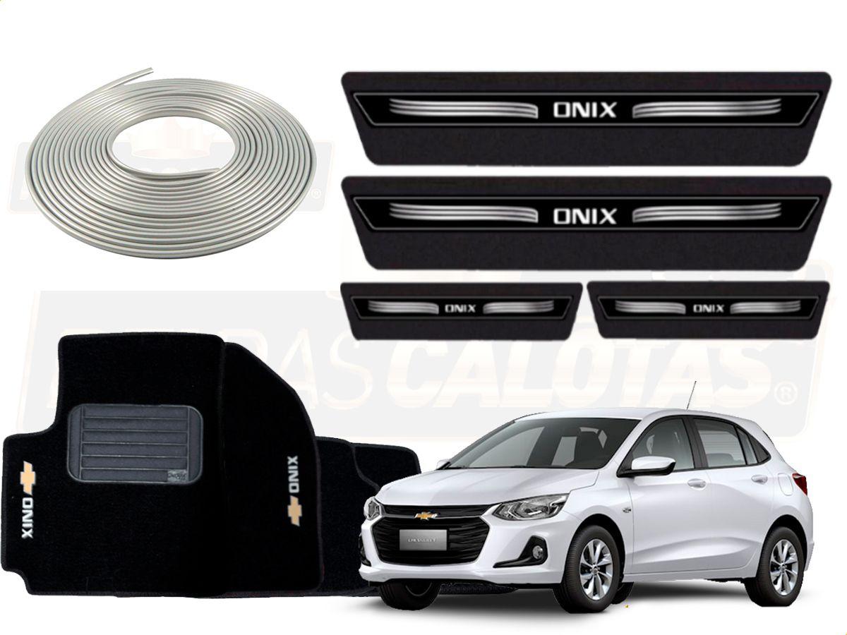 Kit Novo Onix Hatch 2020 Protetor Prata Soleira Tapete