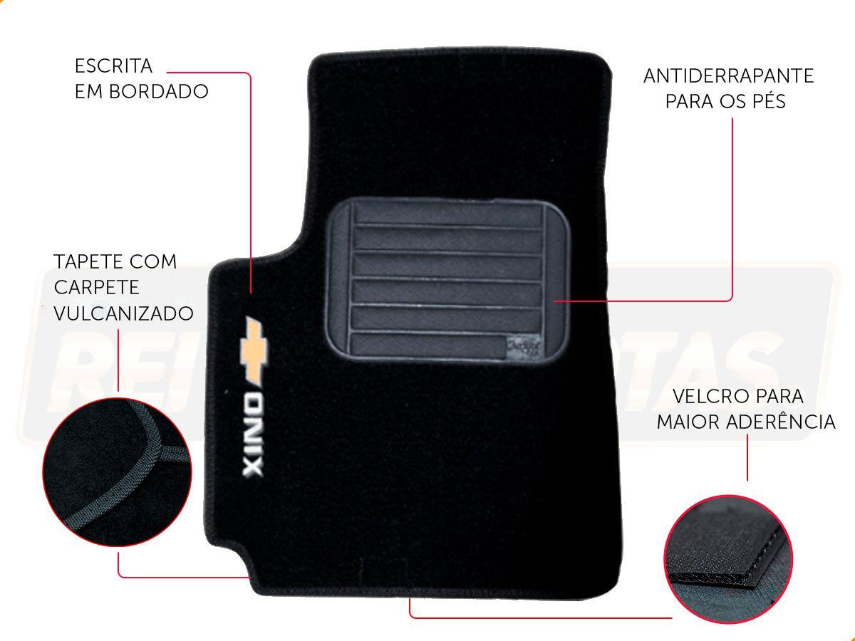 Kit Novo Onix Hatch 2020 Tapete E Friso Preto Ouro Negro