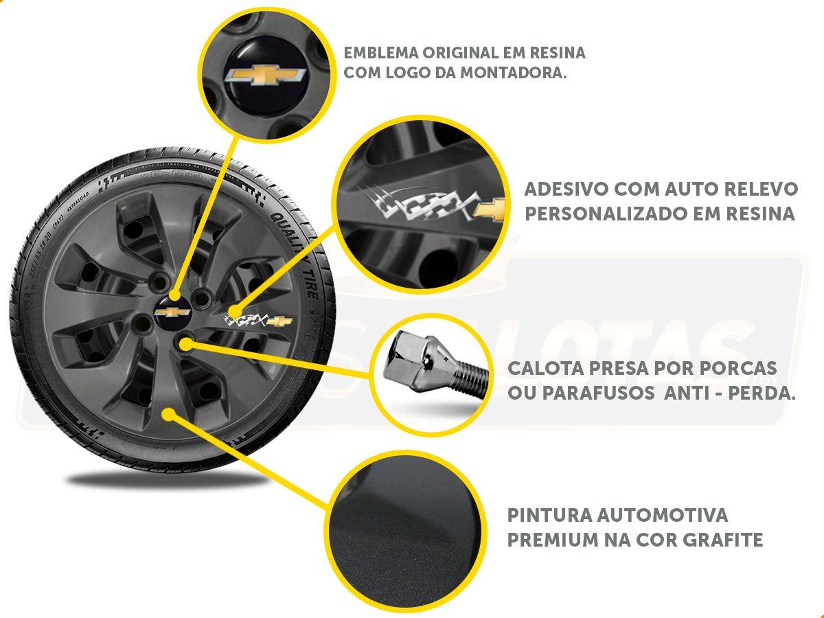 Kit Onix C/4 Calota Grafite Soleira Adesivo R-Design Vermelh