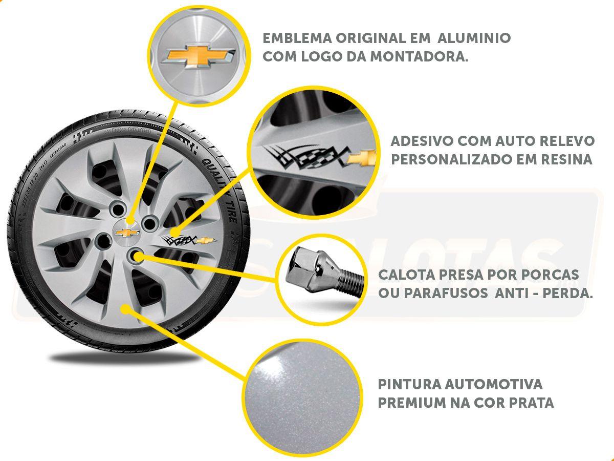 Kit Onix C/4 Calota Prata Soleira Adesivo R-Design Cromado