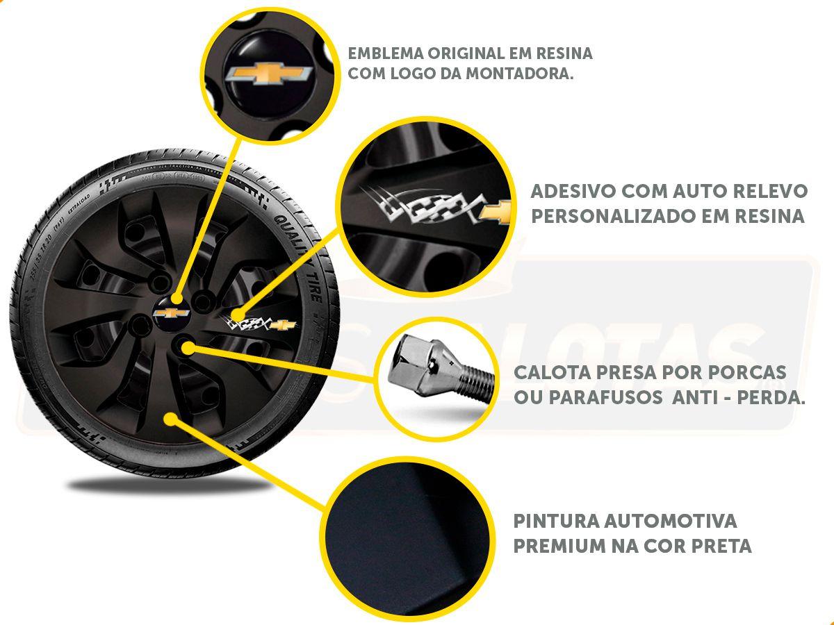 Kit Onix C/4 Calota Preta Soleira Adesivo R-Design Cromado
