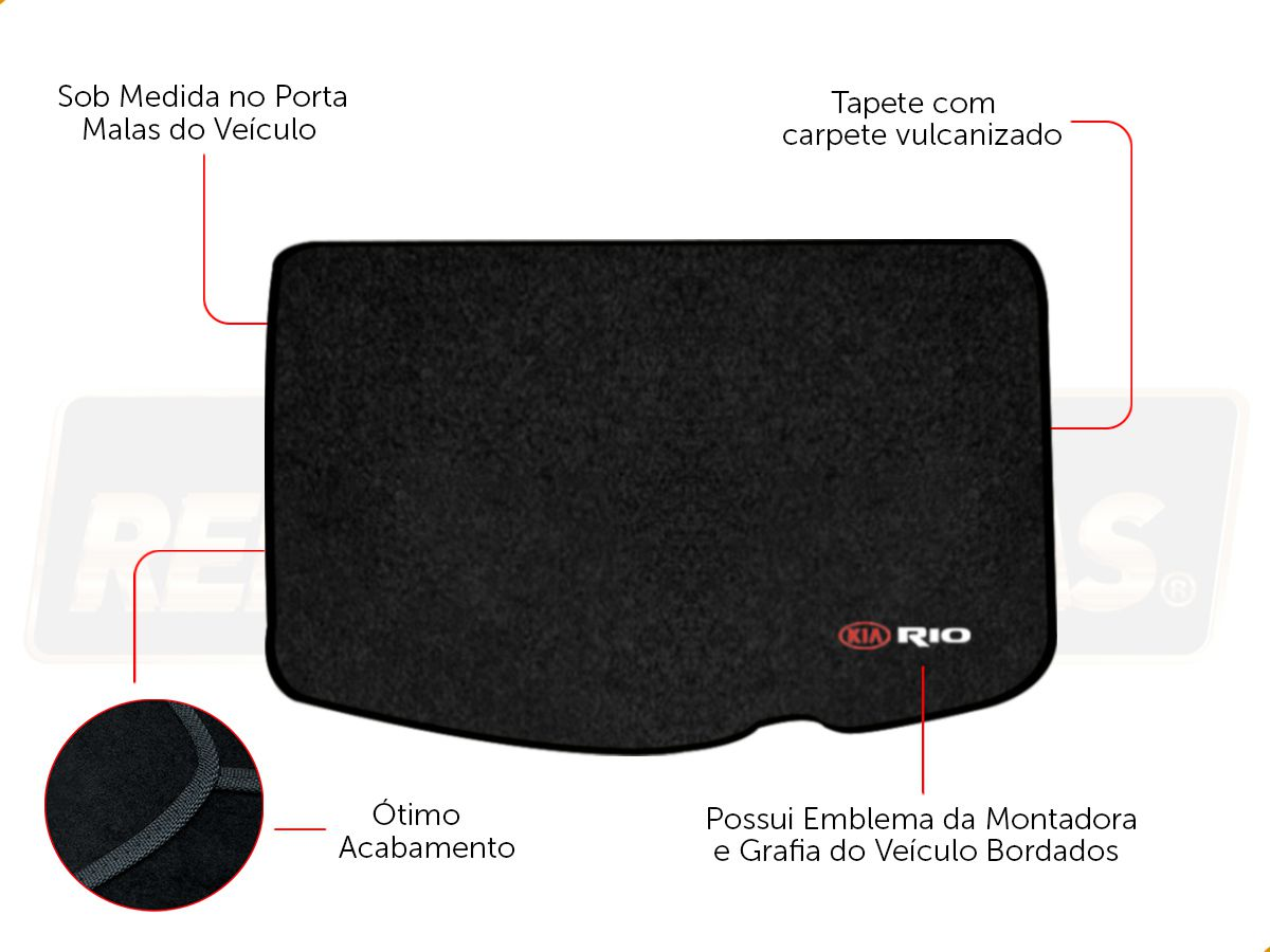 Kit Tapete Carpete Preto 5 Pçs + Porta Malas Kia Rio