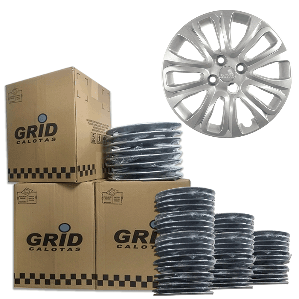 Lote Kit De Calotas Para Revenda Com 12pçs Aro 15 Grid G229k