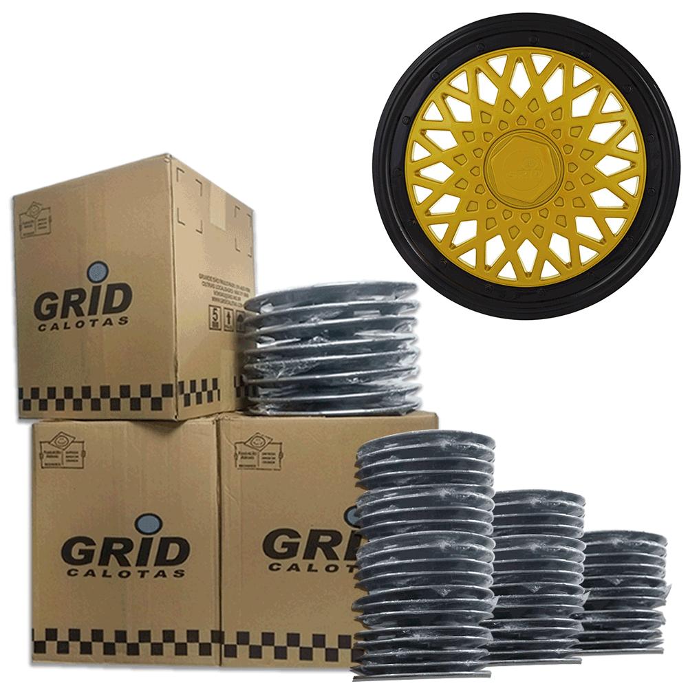 Lote Kit De Calotas Para Revenda Com 12pçs Aro 15 Grid G602DPBk