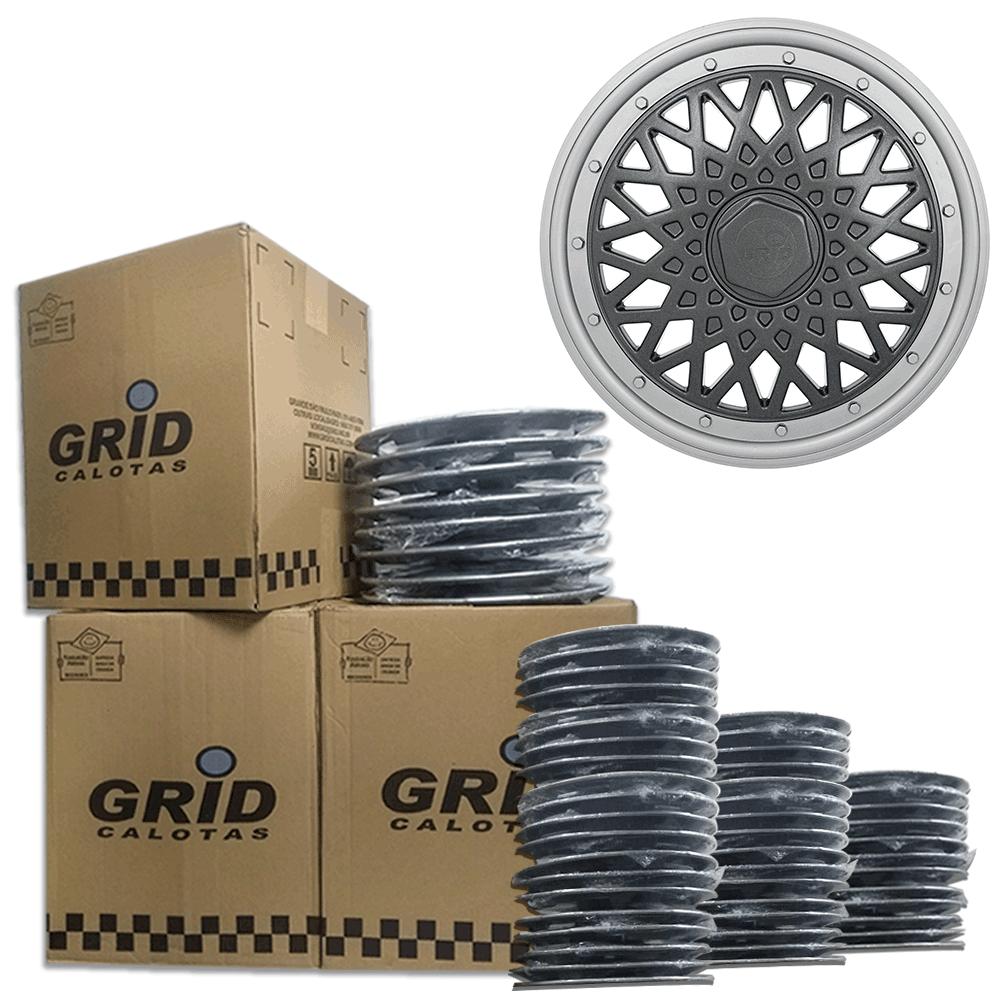 Lote Kit De Calotas Para Revenda Com 12pçs Aro 15 Grid G602PTGk