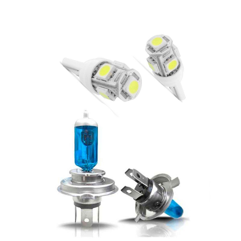 Par de  Lâmpadas Super Branca H4 Efeito Xenon  + Par de Led