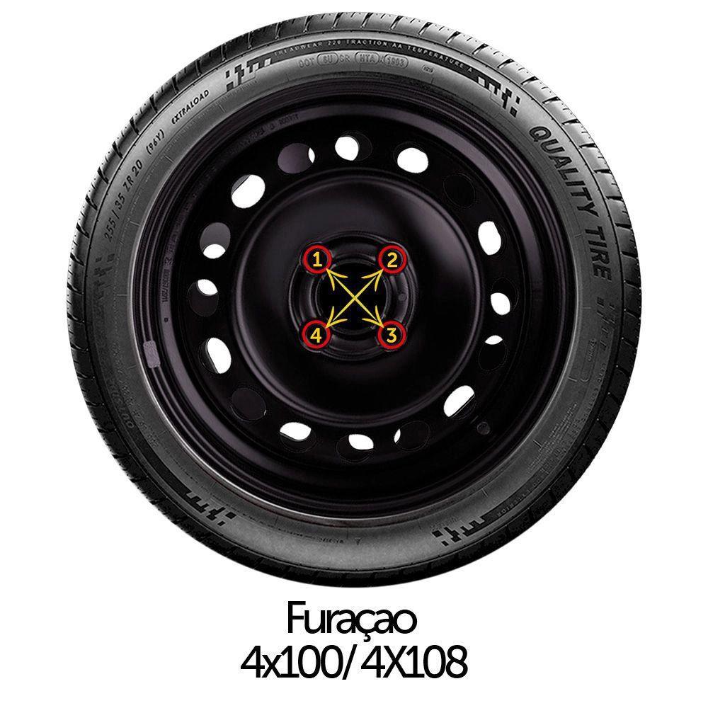 Calota Preto Fosco Aro 14 Renault Clio Novo Logan Sandero G133Pf