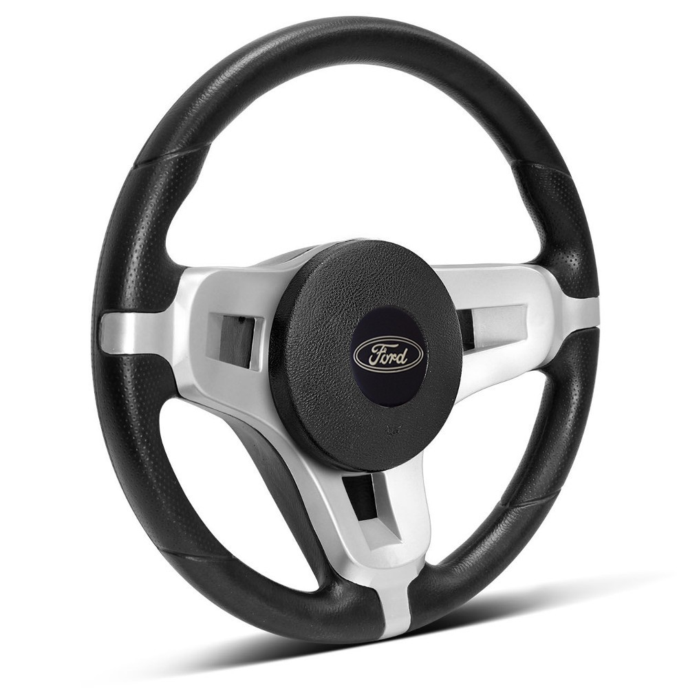 Volante Esportivo Ford  Mustang Prata + Cubo Ka, Fiesta, Courier, Escort, Ecosport, Focus