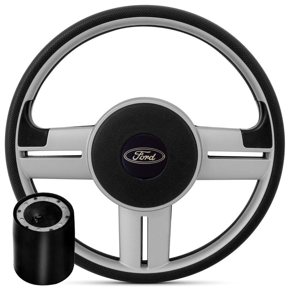 Volante Esportivo Ford Prata + Cubo Ka, Fiesta, Courier, Escort, Ecosport, Focus e outros