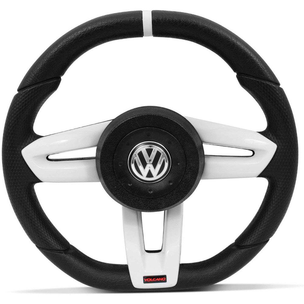 Volante Esportivo Vulcano Volkswagen Preto com Prata para Gol, Parati, Saveiro e Voyage