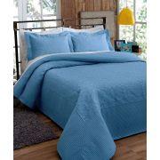Colcha Solteiro Provence Rozac 2 peças Matelassê Azul