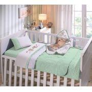 Jogo de Berço Baby Buettner Malha Liso Bordado 3 Peças Dog Verde