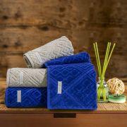 Jogo de Toalhas de Banho Buddemeyer 4 Peças 100% Algodão Bristol Azul/Palha