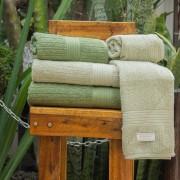 Jogo de Toalhas de Banho Buddemeyer Canelada Fio Penteado 4 Peças Verde/Verde Claro