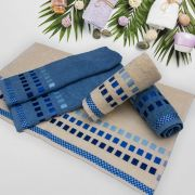 Jogo de Toalhas de Banho Karsten 4 Peças Calera Azul/ Palha