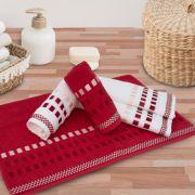 Jogo de Toalhas de Banho Karsten 4 Peças Calera Vermelha/Branca