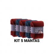 Kit 5 Mantas Cobertor Microfibra Casal Varias Cores