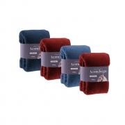 kit com 4 Manta Cobertor Microfibra Solteiro Aconchego Rozac