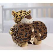 Kit Manta Microfibra com Bichinho de Pelúcia Baby Bouton Leopardo