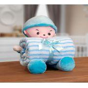 Kit Manta Microfibra com Bonequinho de Pelúcia Baby Bouton Boy Azul