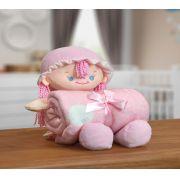 Kit Manta Microfibra com Bonequinho de Pelúcia Baby Bouton Nany Rosa